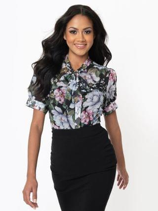 WOMEN Hell Bunny Pink & Blue Floral Print Magnolia Blouse