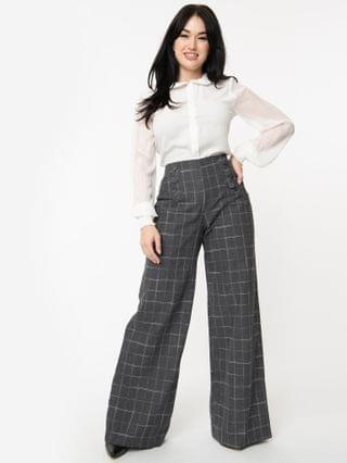 WOMEN Unique Vintage Grey Plaid High Waist Rogers Pants