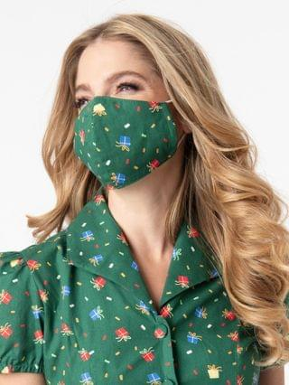 WOMEN Green & Holiday Gift Print Face Mask