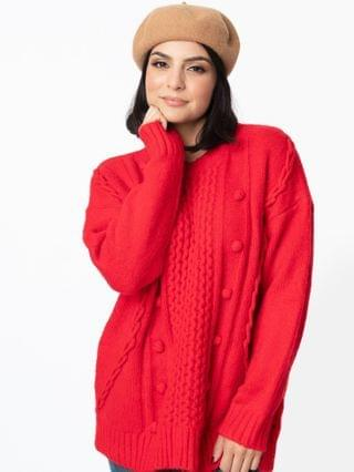 WOMEN Red Cable Knit Oversized Sweater
