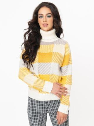 WOMEN Yellow & White Plaid Turtleneck Casual Sweater