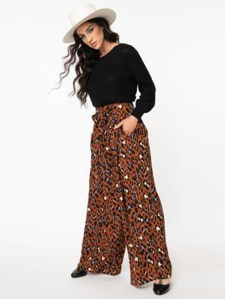 WOMEN Terra Cotta Leopard Print Wide Leg Pants