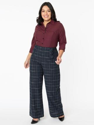WOMEN Unique Vintage Plus Size Navy Plaid High Waist Rogers Pants