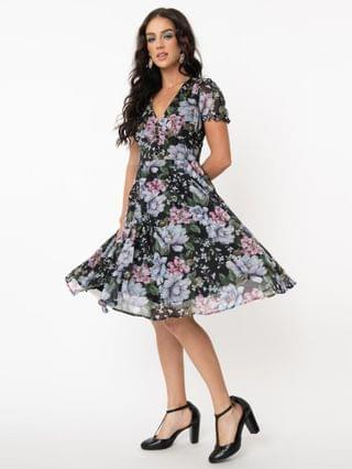WOMEN Hell Bunny Pink & Blue Floral Magnolia Swing Dress