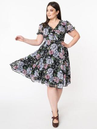 WOMEN Hell Bunny Plus Size Pink & Blue Floral Magnolia Swing Dress