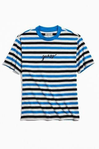 MEN GUESS UO Exclusive Black And Blue Stripe Tee