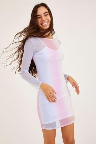 WOMEN Daisy Street Sheer Mesh Mini Dress