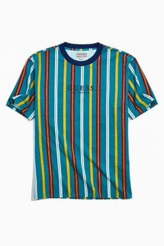 MEN GUESS Teal Party Stripe Tee