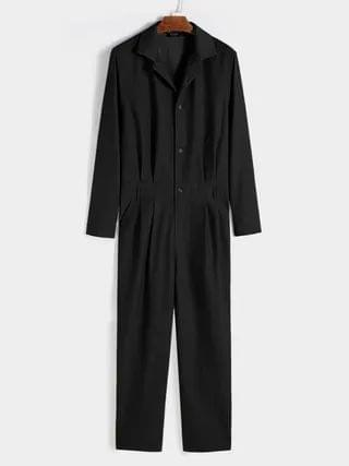 WOMEN Fashion Casual Button Front Long Sleeve Overalls Jumpsuit