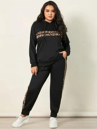 WOMEN YOINS Plus Size Patchwork Leopard Hooded Design Long Sleeves Two Piece Outfit