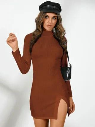 WOMEN YOINS Mock neck Split Design Mini Dress