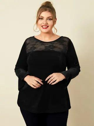 WOMEN YOINS Plus Size Round Neck Patchwork Lace Christmas Long Sleeves Tee