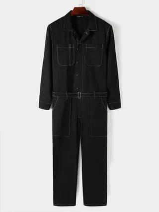 WOMEN Vintage Fashion Streetwear Casual Multi-pocket Long Sleeve Overalls Jumpsuit