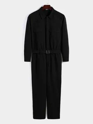 WOMEN Fashion Casual Zip Up One Pieces Long Sleeve Overalls Jumpsuit