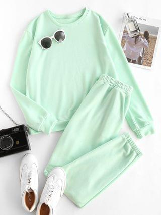 WOMEN Lounge French Terry Sweatshirt And Joggers Tracksuit Set - Green M