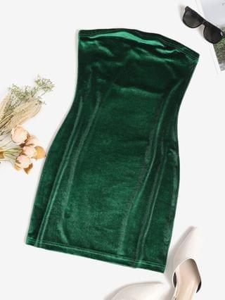WOMEN Bandeau Velvet Bodycon Cocktail Dress - Deep Green L