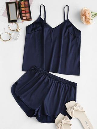 WOMEN Satin Shorts Pajamas Set - Deep Blue S