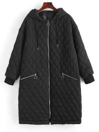 WOMEN Long Hooded Zippered Pockets Quilted Coat - Black Xl