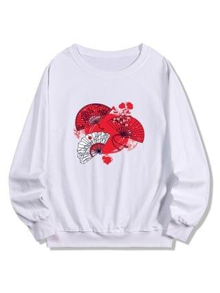 MEN Japanese Fan Print Pullover Sweatshirt - White 2xl