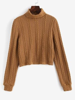 WOMEN Turtleneck Cable Knit Cropped Sweater - Light Coffee Xl