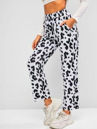 WOMEN Cow Print Pull On Straight Pants - Black S