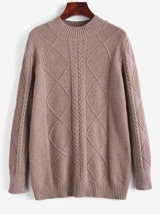 WOMEN Cable Knit Mock Neck Solid Jumper Sweater - Coffee
