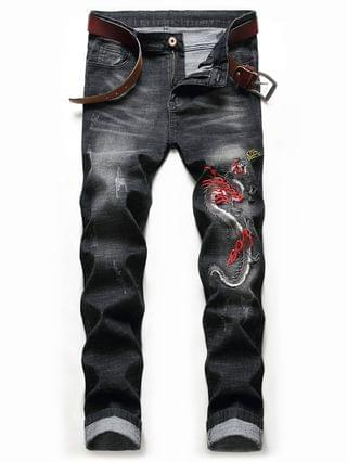 MEN Dragon Embroidery Scratch Chinoiserie Jeans - Night 36