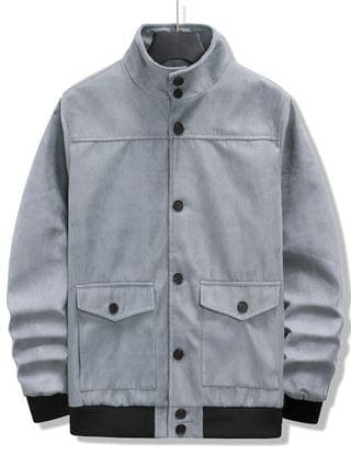 MEN Double Pockets Rib-knit Trim Jacket - Light Gray L
