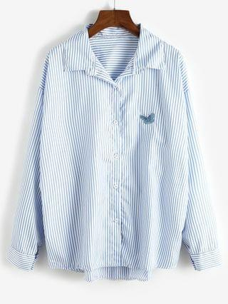 WOMEN Oversize Stripes Butterfly Embroidered Shirt - Pastel Blue M