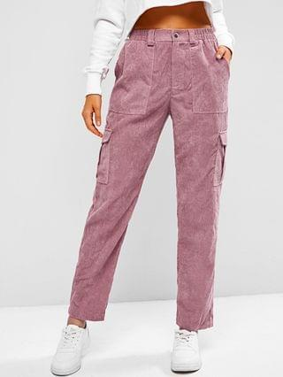 WOMEN Corduroy High Rise Cargo Pants - Pale Violet Red M