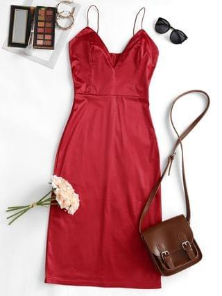 WOMEN Satin Bodycon Cocktail Cami Dress - Red S