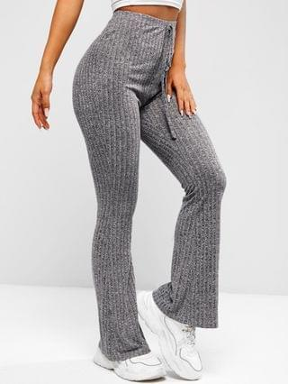 WOMEN Heathered Knitted Bell Bottom Pants - Carbon Gray M