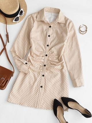 WOMEN Long Sleeve Checked Ruched Front Shirt Dress - Light Coffee L