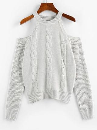 WOMEN Cable Knit Cold Shoulder Jumper Sweater - Light Gray L