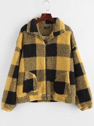 WOMEN Plaid Faux Shearling Drop Shoulder Teddy Coat - Yellow M