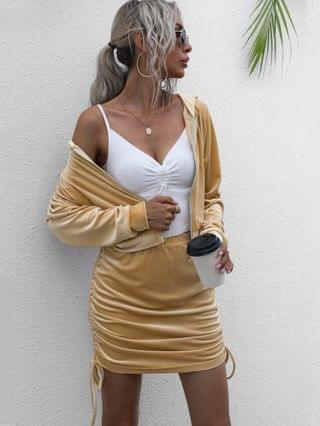 WOMEN Hooded Velvet Side Cinched Ruched Two Piece Dress - Light Coffee Xl