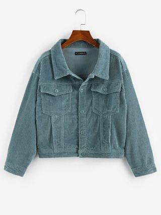 WOMEN Corduroy Drop Shoulder Pocket Button Up Jacket - Light Blue M