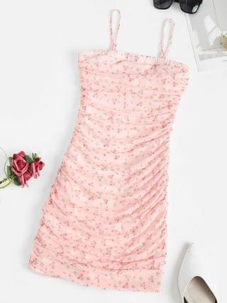 WOMEN Ditsy Print Ruched Mesh Overlay Slinky Dress - Light Pink M