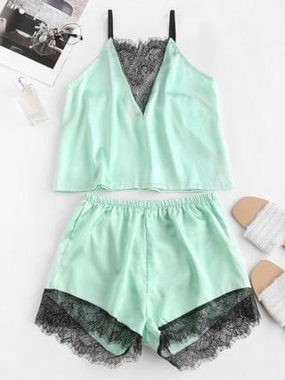 WOMEN Flower Lace Satin Pajama Shorts Set - Light Green L