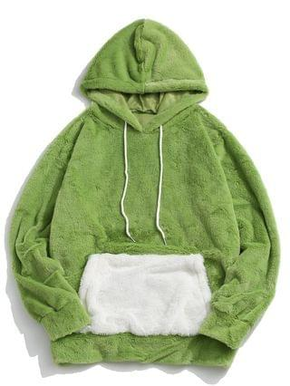 MEN Contrast Kangaroo Pocket Fluffy Faux Fur Hoodie - Light Green 2xl