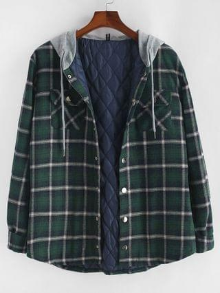MEN Plaid Print Double Pockets Hooded Padded Jacket - Deep Green 2xl