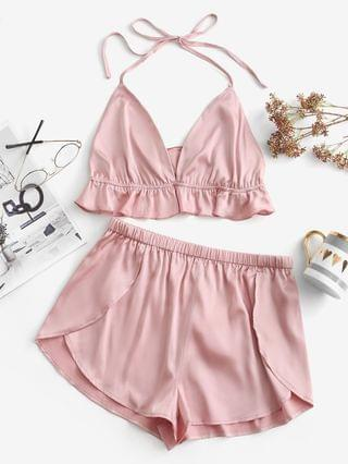 WOMEN Ruffle Satin Pajama Shorts Set - Pig Pink S