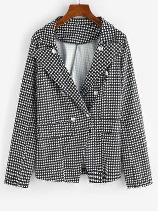 WOMEN Houndstooth Double Breasted Flap Detail Blazer - Black L