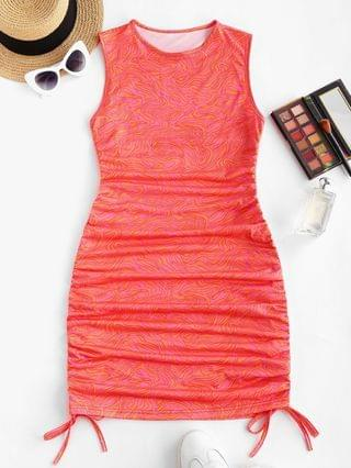 WOMEN Cinched Abstract Print Sleeveless Bodycon Dress - Red L