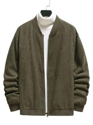 MEN Elbow Patch Ribbed Corduroy Jacket - Army Green Xl