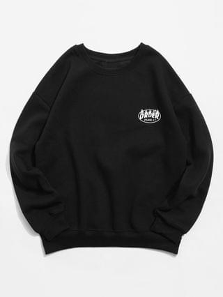 MEN Fleece Letter Graphic Print Drop Shoulder Sweatshirt - Black L