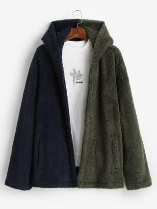 MEN Hooded Open Front Contrast Fluffy Jacket - Deep Green L