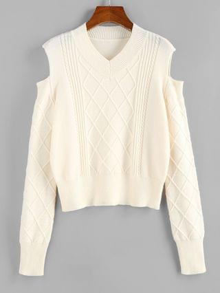 WOMEN Cold Shoulder Rhombus Cable Knit Jumper Sweater - Light Coffee L