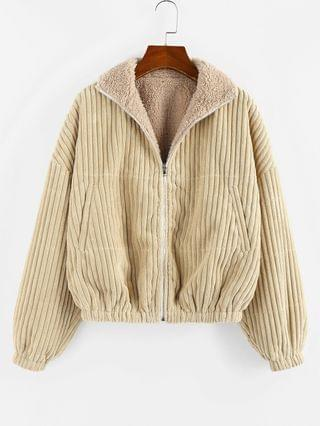 WOMEN Reversible Corduroy Drop Shoulder Teddy Jacket - Light Khaki L