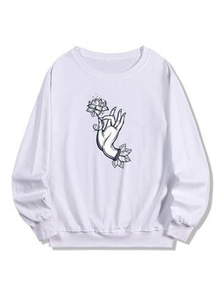 MEN Flower Hand Print Pullover Sweatshirt - White Xl